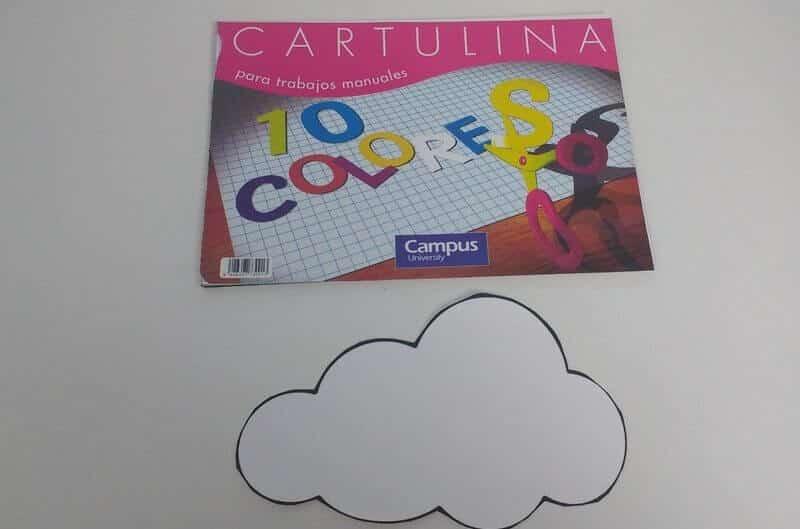 Cartulina y muestra de ejemplo para móvil de naturaleza Montessori