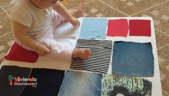 Panel de texturas para actividades Montessori de 6 a 12 meses