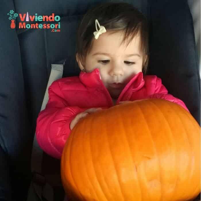 Paseo en Halloween con la calabaza