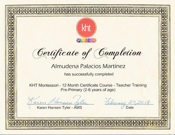 Certificado Montessori KHT