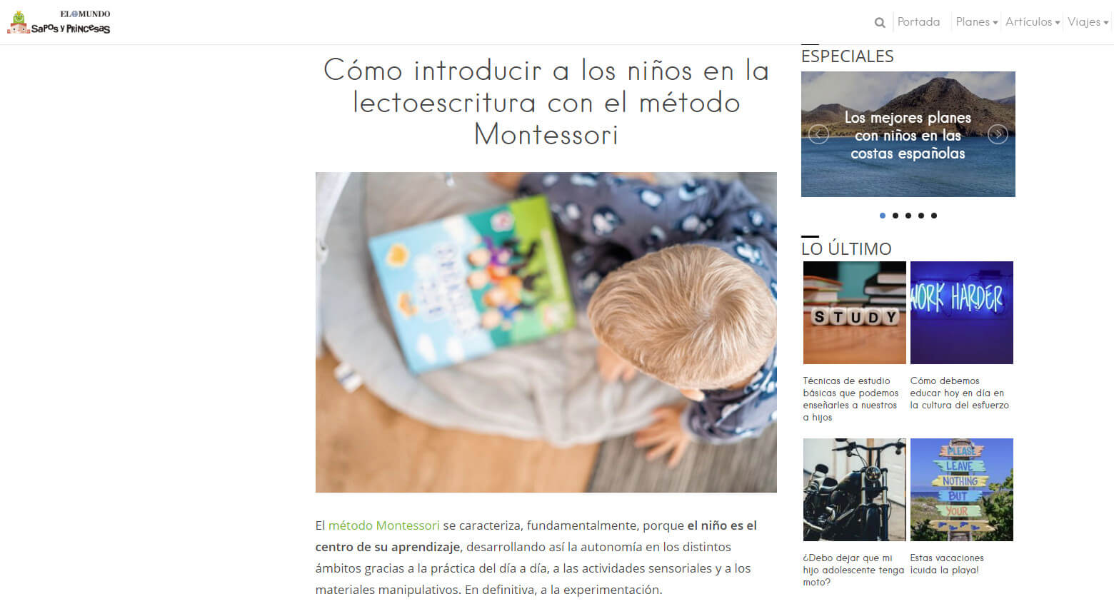Lectoescritura con el método Montessori